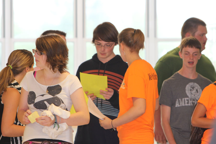 Freshmen receive their schedules for the first time and tour the school with their mentor at Freshman Orientation.