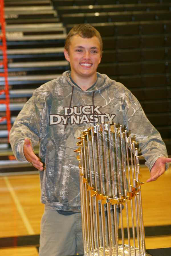 Shipping up to BHS: Red Sox World Series trophy
