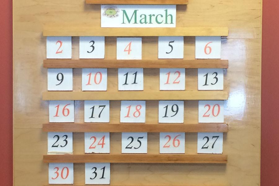 The calendar in guidance displays the alternating black and orange days for the month of March.