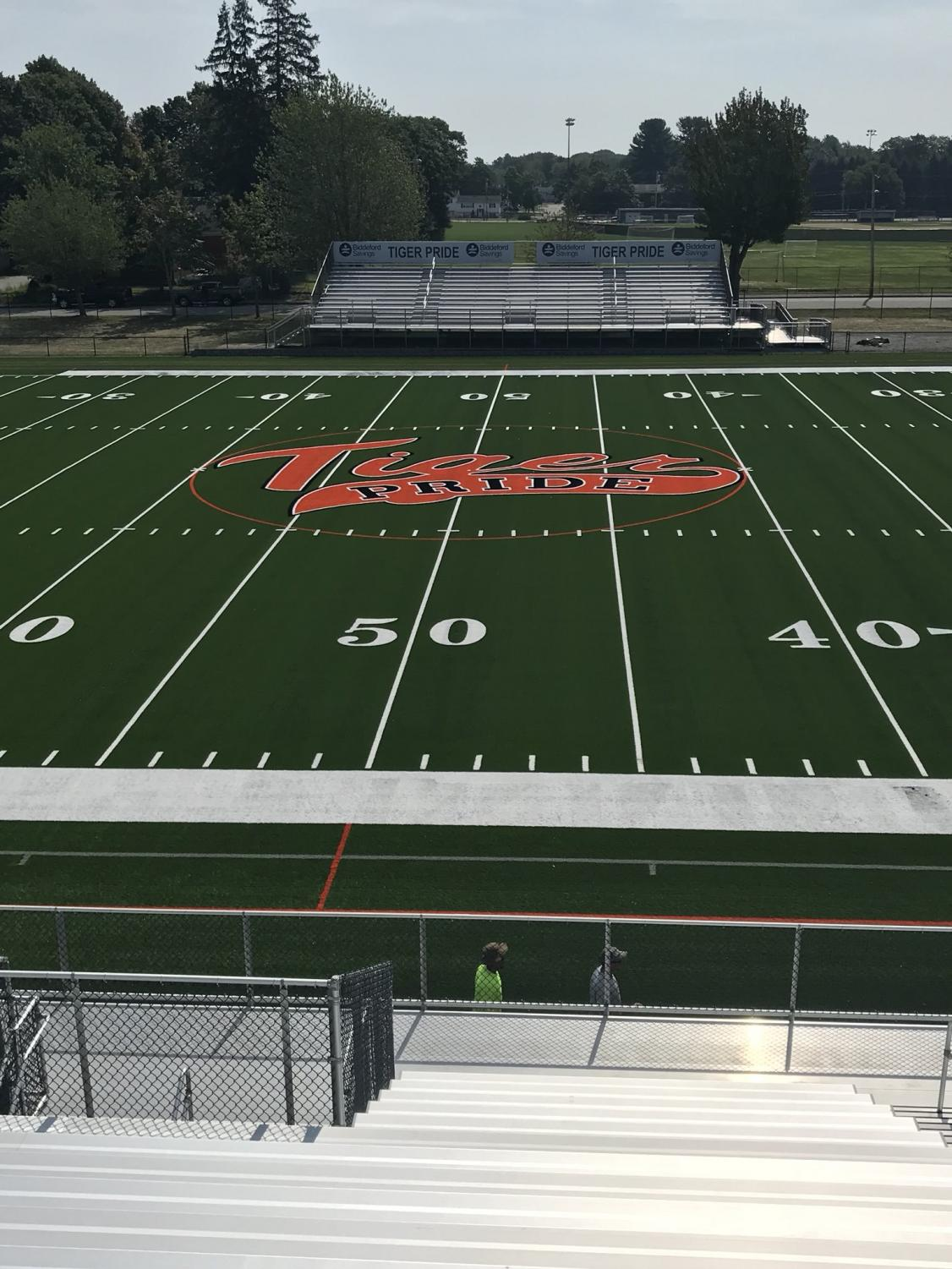 New logo on the turf. Photo courtesy of Dennis Walton.