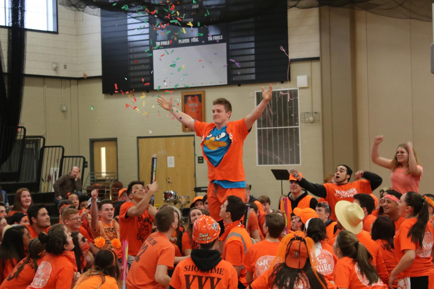 Junior Kurtis Edgerton provides a spirited ending to the junior class dance at the rally on Friday, March 22.