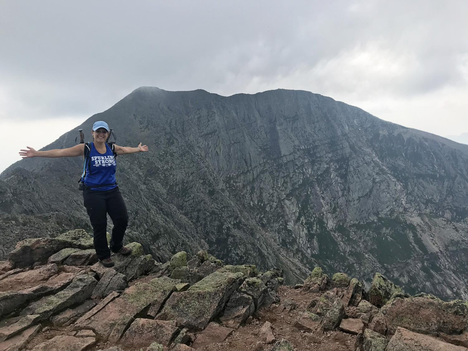 Mariel Leonard hikes the Knife's Edge trail on Mount Katahdin, the end of the Appalachian Trail for North-bound hikers, in August 2018.